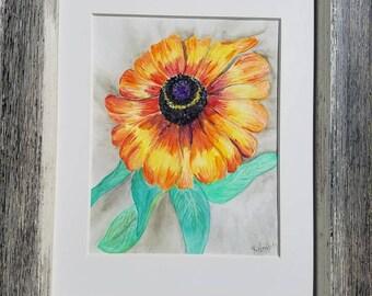 "Gloriosa Daisy watercolor 9""x12"""