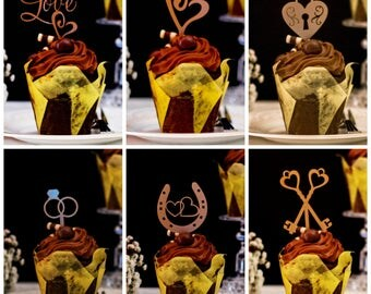 Romantic Gold Cupcake Decorations ideal Gold Cupcake Toppers or Cupcake picks for your Wedding Cupcakes, Engagement Cupcakes or Anniversary