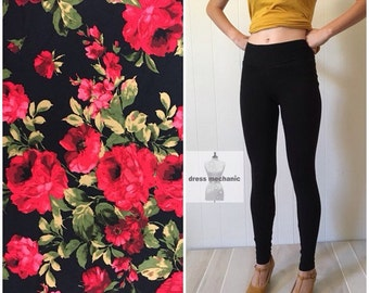 Women's high waist double brushed poly spandex leggings or capris, high rise printed yoga leggings, available in plus sizes