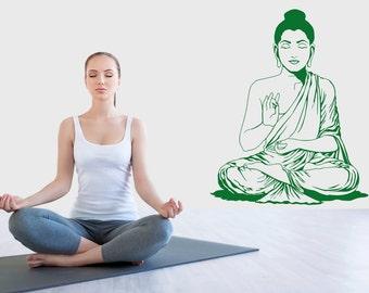 Buddha Wall Sticker Decal Meditation Vinyl God Buddhism Stencil Art Gift