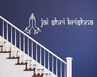Krishna Wall Sticker Hindu Greeting Vinyl God Decal Stencil Living Room Art Gift