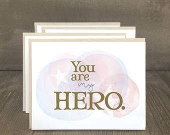 Patriotic cards, Your My Hero military appreciation notecards to thank the troops