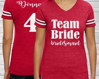 Team Bride Jersey - Bridesmaid Proposal - Bridesmaid Gift - Bachelorette Party Football Shirt - Personalized Bride Shirt - Future Mrs