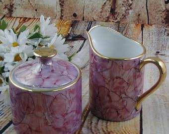 Pink Lusterware Marble / Sugar n Creamer Set / Japan / Fine Porcelain  / Tea Party