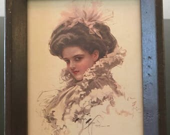 Vintage Harrison Fisher Small Framed Print/ Vintage Art Print/ Vintage Lady Portrait by Harrison Fisher