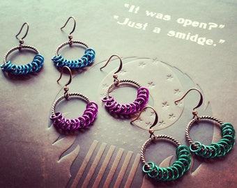 Purple Earrings, Copper Earrings, Blue Earrings, Green Earrings, Antiquated Earrings, Spiral Earrings, Antiquated Copper Earrings