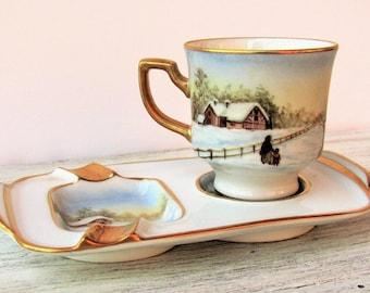 Winter landscape espresso coffee cup, personalized ashtray, collectible coffee cup, personalized coffee cup, coffee ashtray, espresso cup