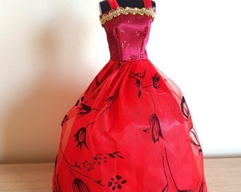 Red Prom / Ball Dress / Gown - with Flowery Lace Detail for Barbie or Similar Sized Dolls  (Ref E)