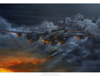 Aviation art print. De Havilland Mosquito. Limited edition signed by artist. Mossie. Airplane art. Present for him. Spitfire. Giclee.