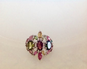 Sterling silver and tourmaline ring.  Size: 7