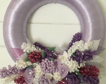 Handmade Lilac satin ribbon and felt floral wreath