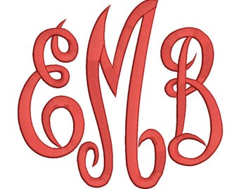 Empress Monogram Embroidery Font 3 Size Font Machine Embroidery Font Instant Download 9 Formats Embroidery Pattern PES and BX