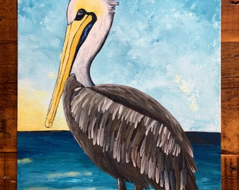 Pelican Painting Pelicans at the Lake 3 of 3 Original Cajun Acrylic Painting on 12x16 Canvas Panel