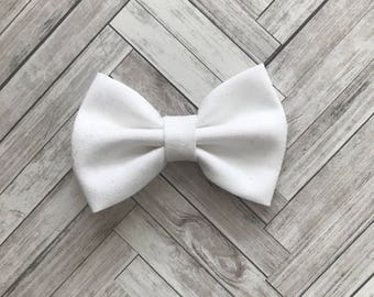 Plain white baby bow - headband or hair clip - everyday bow for babies - baby and and kids gift
