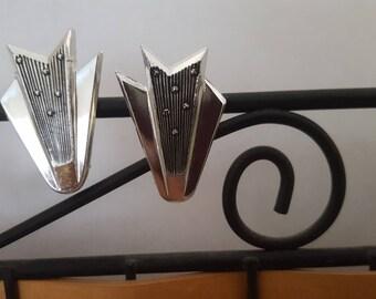 Vintage West Germany Clip on Earrings Silver Tone, Arrowhead Shape