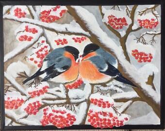 Winter birds, gouache, 14x11 canvas, gift, decoration