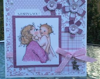 handmade card, greeting card, welcome baby card, baby card, baby girl card