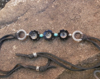 Leather Tie Bracelet, Czech Glass Bracelet, Boho Hippie Jewelry