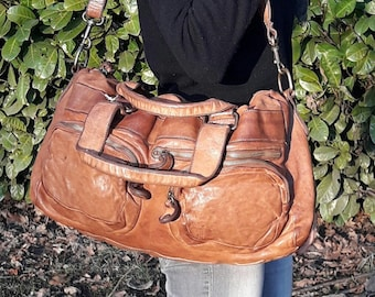 Vintage inspireb bag - 100% made in italy - vegetable leather