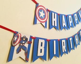 Captain America Birthday Banner/Avengers Birthday Banner/Avengers Birthday Party Decor/Captain America Party Decor/Super hero birthday party