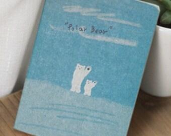 SALE! Vintage White bear durable pad 12.5 x 9 cm 80 pages blue eco-friendly office