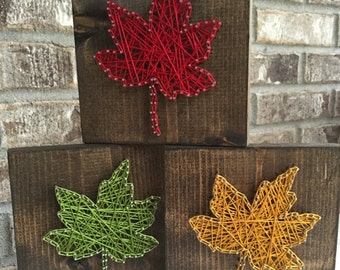 Leaf String Art, Fall String Art, Fall Decor, Thanksgiving Decor