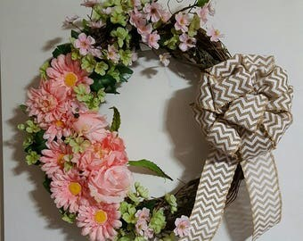 "READY TO SHIP** 20"" Spring Floral Grapevine Wreath"