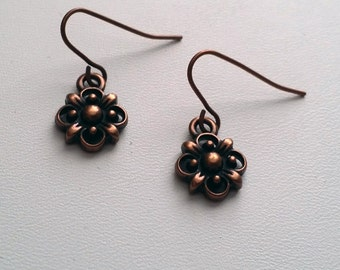 Small Copper Flower Earrings  (E14-229)