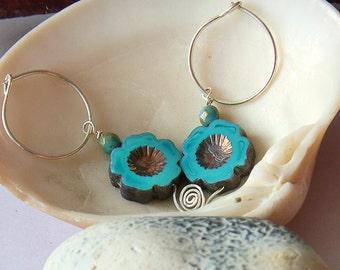 Turquoise earrings, hoop earrings, flower earrings, boho earrings, sterling silver earrings, spiral earrings, designer earrings