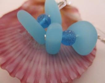 Beach Glass Earrings, Drop Earrings, Blue Earrings