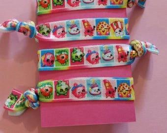 4 piece Shopkins elastic Hair ties