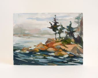 Original Oil Painting, Rocky Coast, Maine, Seascape, Landscape