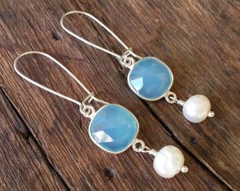 Chalcedony Earrings, Sterling Silver Earrings, Light Blue Earrings Wedding Earrings, Pearl Earrings Dangle, Wedding Jewelry, Bridal Earrings