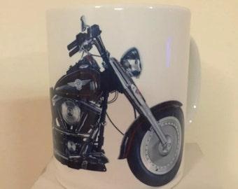 Harley Davidson Fatboy Mug, Motorcycle Mug.