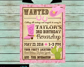 Western Cowgirl Birthday Party Invitations Invites Personalized Custom ~ We Print and Mail to You