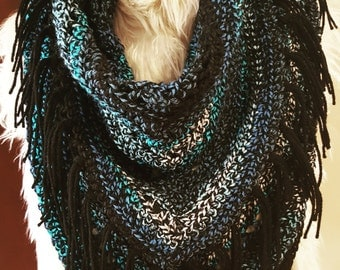Navajo Nights Crochet Triangle Scarf with Fringe