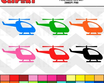 Helicopter Clipart Color Bundle Pack