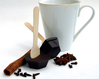Hot Chocolate Stirrer Spoon, Spicy Cinnamon Chocolate on a Spoon, Chocolate Dipper, Winter Warmer Chilli Chocolate Gift