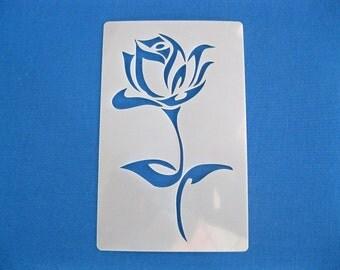 Laser Cut Reusable Washable Mylar 190 Micron Stencil Rose 9cm x 14.5cm