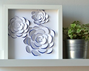 ECHEVERIA trio - table paper cut succulent inspiration, ideal for decoration, modern graphics, embossed, personalized gift