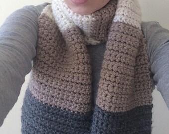 Multicolored Thick Crochet Scarf