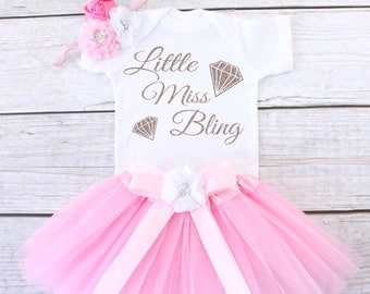 Little Miss Bling. Baby Tutu Outfit. Girl's Outfit. Girl's Tutu Outfit. Girls Tutu Set. Girl's Clothing. T12 GRL (LPINK)