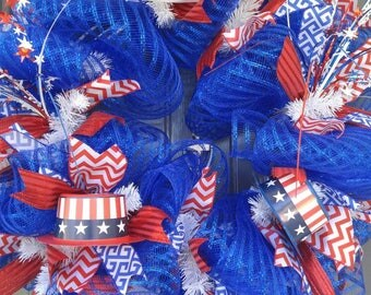 Memorial Day Wreath, Door Wreath, July 4th Wreath, Patrotic Wreath, Red, White and Blue Wreath
