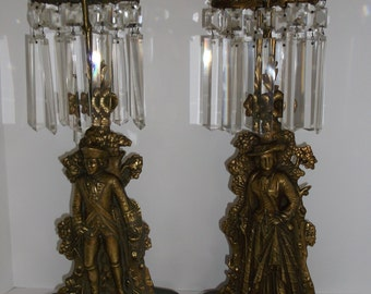 Candlesticks With Prisms Pair Colonial Man and Woman      Vintage  SUMMER SALE !