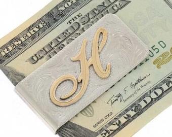 Custom Initial Money Clip Gold Silver Script H To M