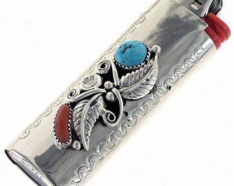 Navajo Silver Lighter Case Sleeping Beauty Turquoise Coral