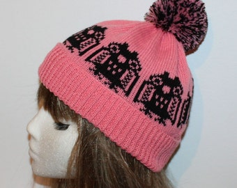 Pink with Black Owls pompom beanie hat - with or without pompom