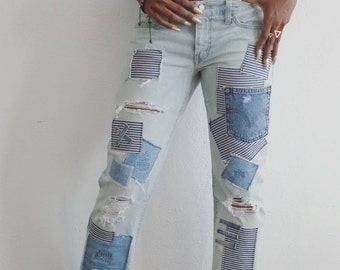 Striped Patchwork Jeans- Size 7