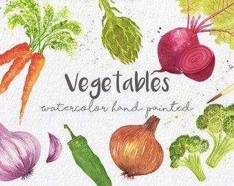 Vegetables ClipArt Collection - Watercolor Hand made,beetroot,carrot,onion,garlic,healthy food,verduras,comida sana,logo,download,digital