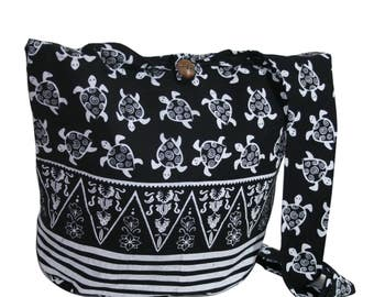 Turtle Black Handmade Hippieb bag Crossbody Bag Shoulder Sling Bag Messenger Bag Boho bag Purse